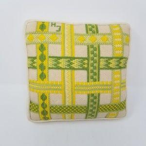 Vintage 1970's Green Yellow Needlepoint Pillow